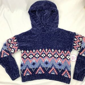 Justice Chenille Hoodie Sweater Girls Size 6/7